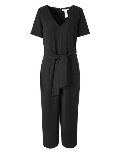 Black Front Tie Jumpsuit, Black, hi-res