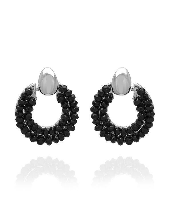Black Caviar Beaded Hoop Earring, Black, hi-res