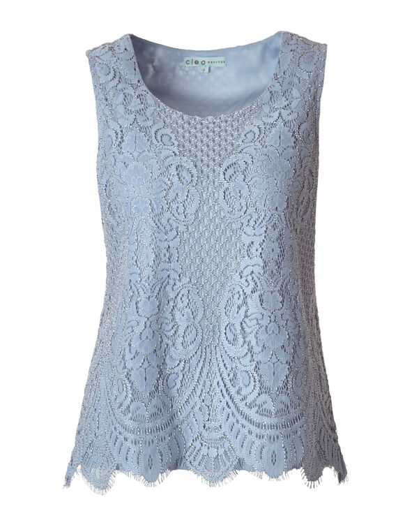Dusty Blue Lace Top, Dusty Blue, hi-res