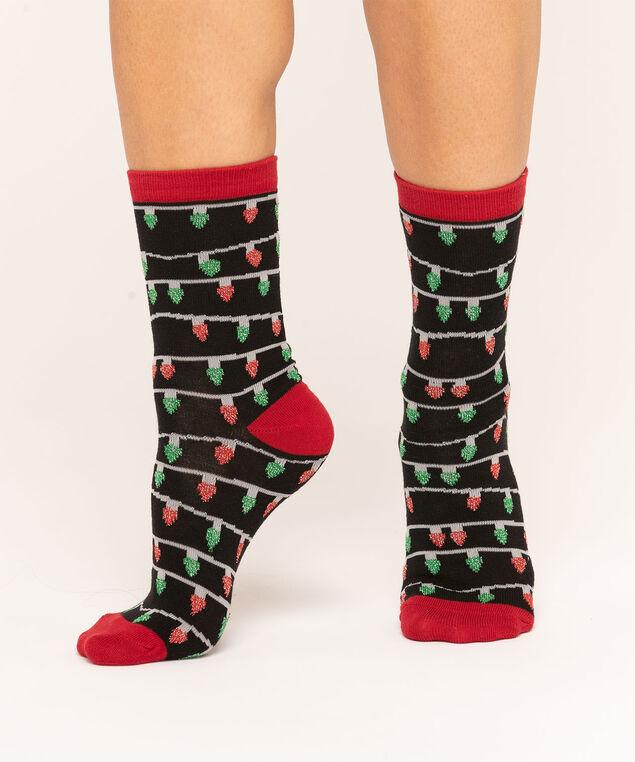 Festive Lights Sock, Black/Red/Green