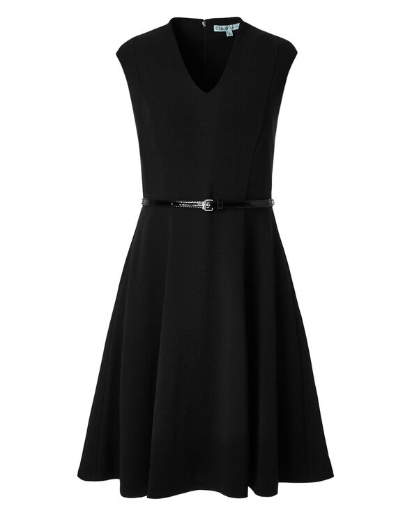 Little Black Fit & Flare Dress, Black, hi-res