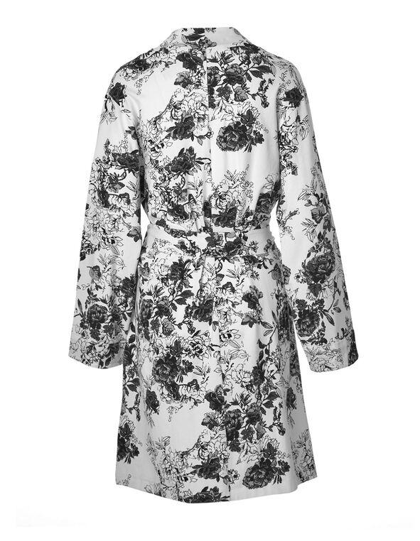 Ivory Floral Jersey Robe, Ivory, hi-res
