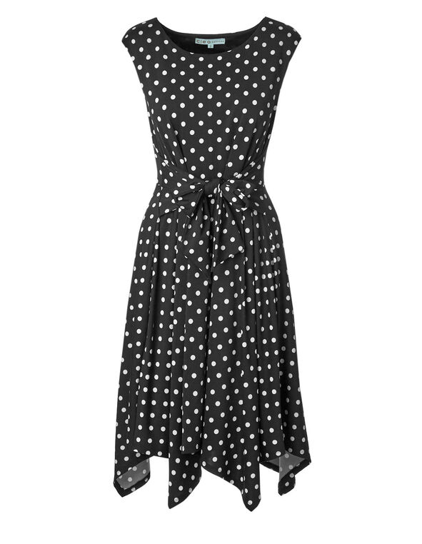 Black Polka Dot Front Tie Dress, Black, hi-res