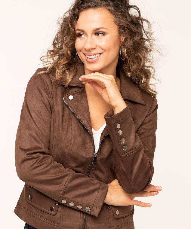 Faux Suede Textured Moto Jacket, Brown, hi-res