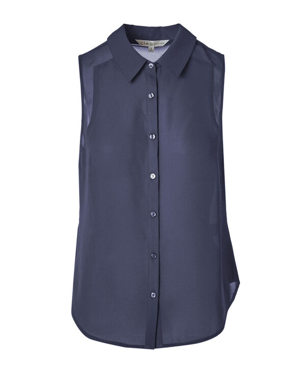 Navy Button Front Sleeveless Blouse, Navy, hi-res