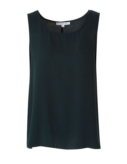 Loden Sleeveless Shell Blouse, Green, hi-res