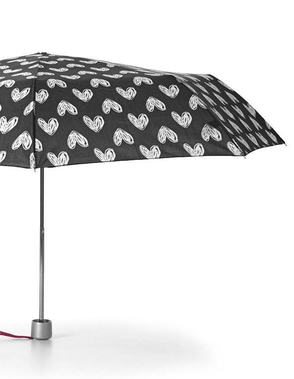 Black Heart Pattern Umbrella, White/Black, hi-res