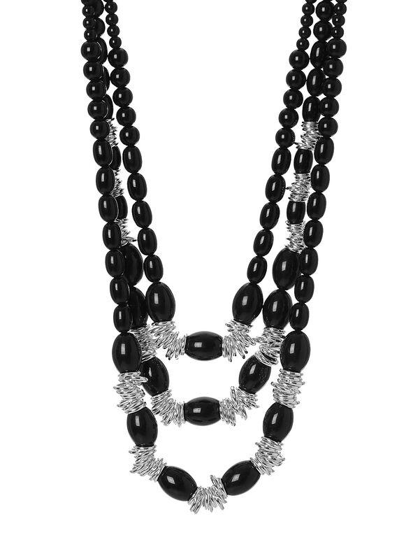Black Beaded Long Necklace, Black, hi-res