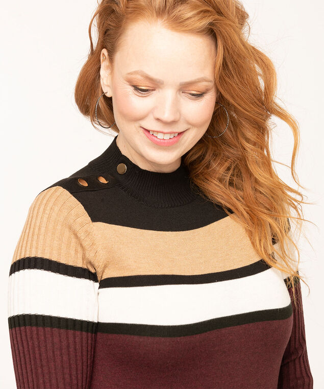 Recycled Mock Neck Sweater, Black/Camel/Mulberry/Ivory, hi-res
