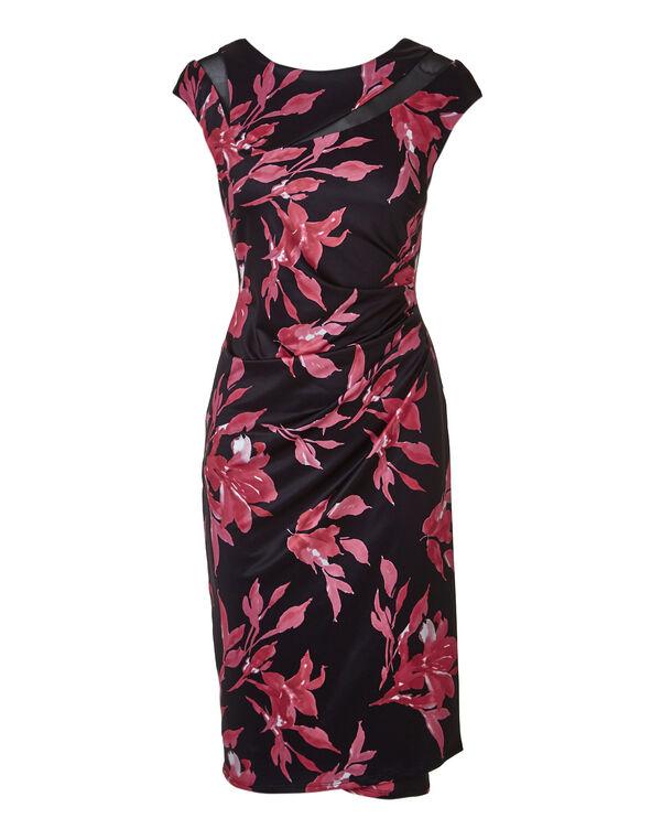 Pink Floral Mesh Insert Dress, Pink/Black, hi-res