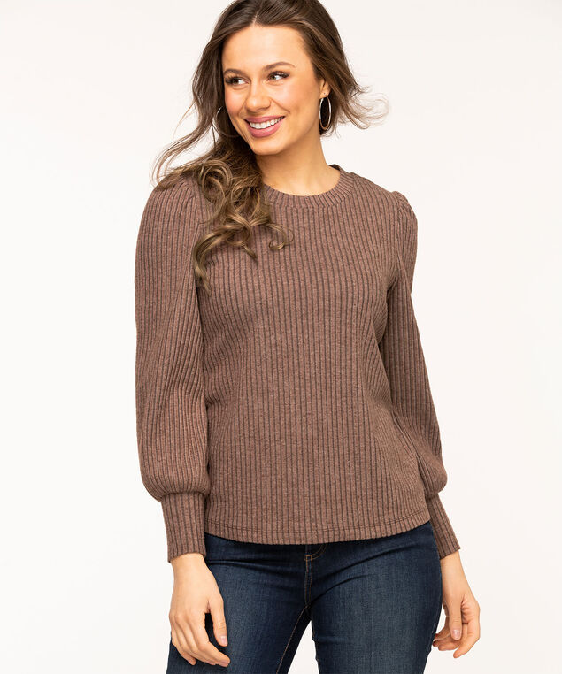 Puff Sleeve Lightweight Knit Top, Chocolate Brown
