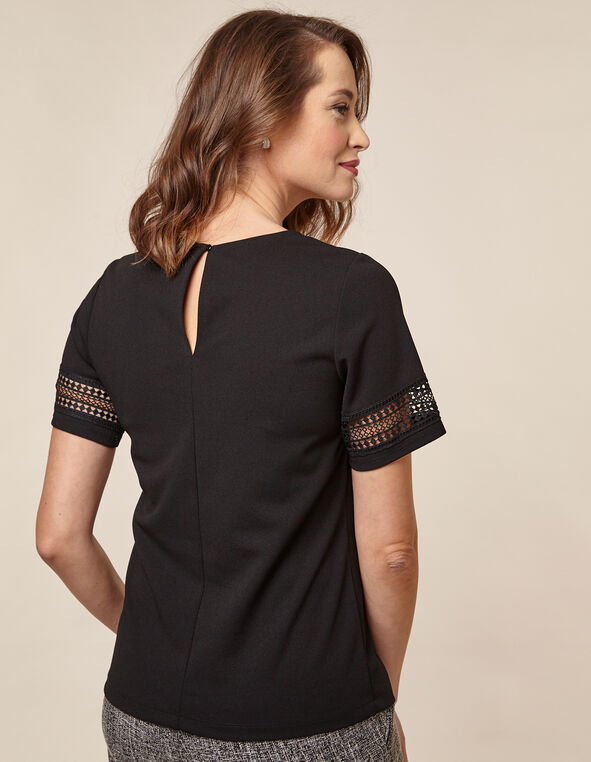 Black Crochet Crepe Top, Black, hi-res