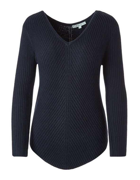 Navy Rib Knit Pullover, Navy, hi-res