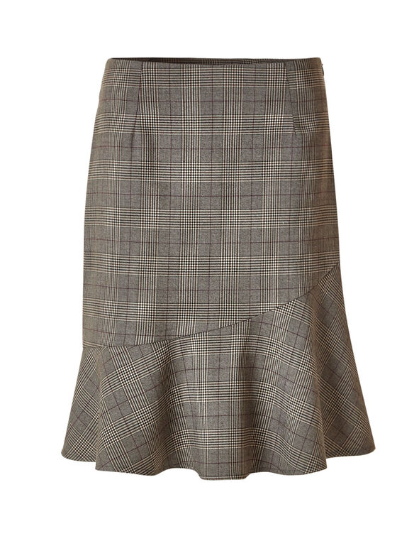 Brown Plaid Favourite Flippy Skirt, Brown, hi-res