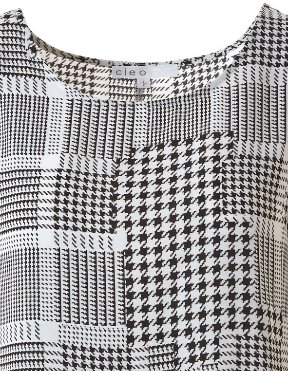 Houndstooth Sleeveless Shell Blouse, White, hi-res