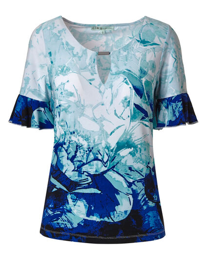 Turquoise Floral Patterned Top, Blue/Turquoise, hi-res