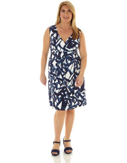 Navy Geo Printed Fit & Flare Dress, Navy/White, hi-res