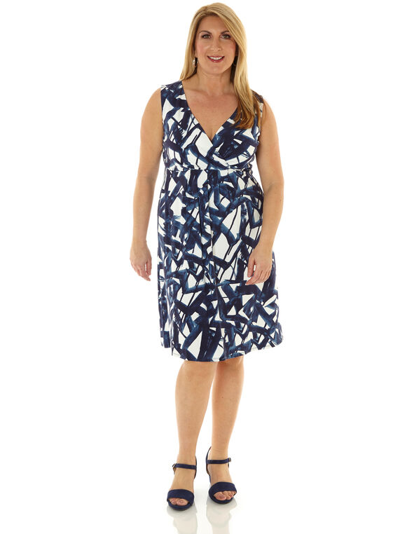 Navy Geo Printed Fit & Flare Dress, Navy/White, hi-res