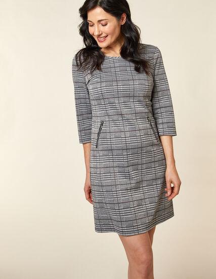 Light Grey Zip A-Line Knit Dress, Grey, hi-res