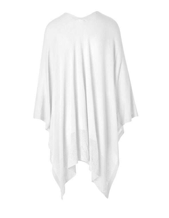 White Open Stitch Kimono Sweater, White, hi-res