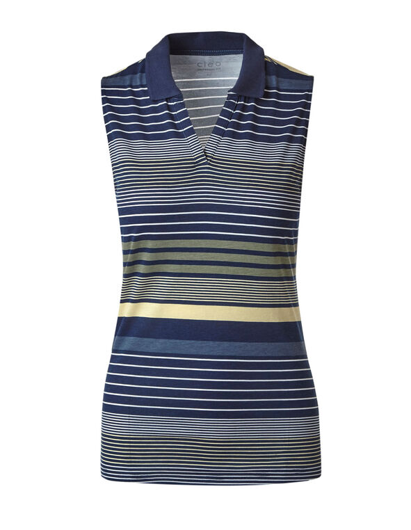 Blue Striped Polo Tee, Blue, hi-res