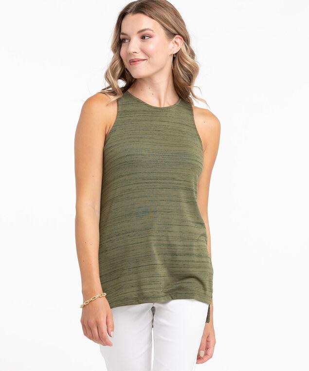 Sleeveless Scoop Neck Tunic Top, Basil Space Dye