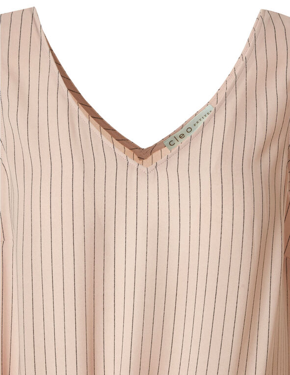 Pink Stripe Side Tie Blouse, Pink, hi-res