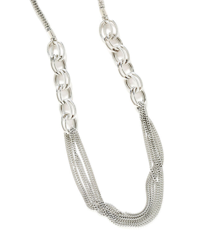 Silver Mixed Link Chain Necklace, Silver