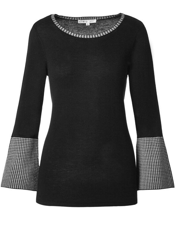 Black Contrast Detail Sweater, Black, hi-res
