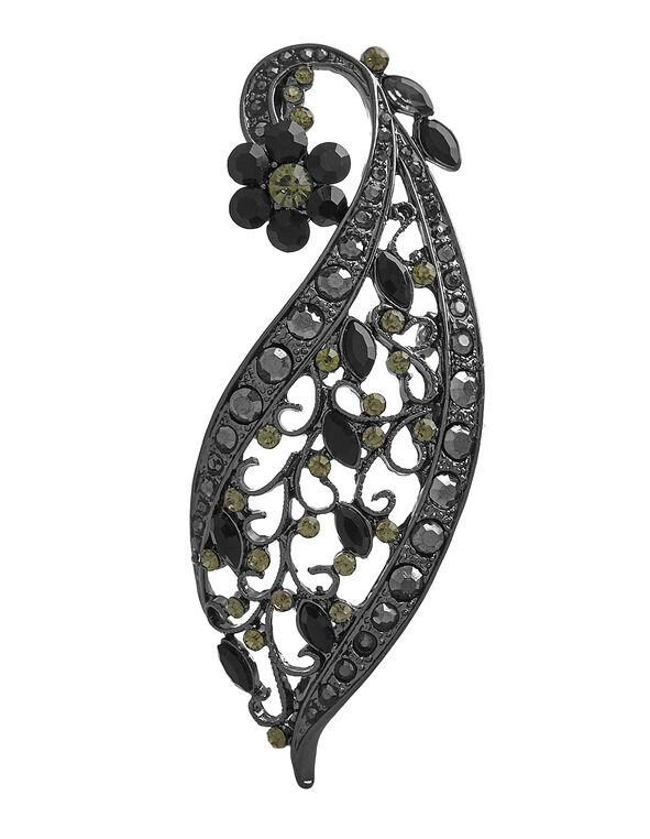 Black Crystal Flower Pin, Black, hi-res