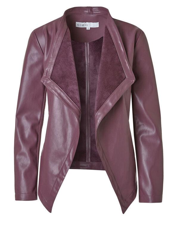 Plum Open Faux Leather Jacket, Plum, hi-res
