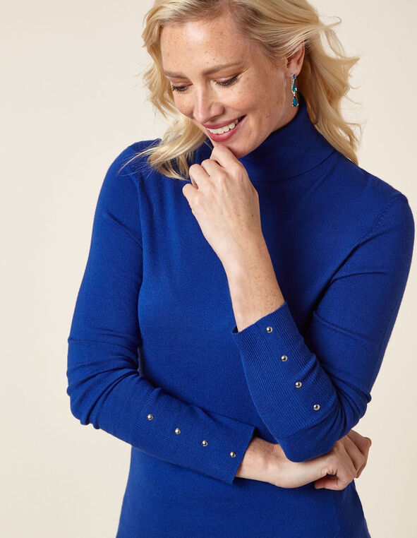 Royal Blue Essential Turtleneck Sweater, Royal Bl, hi-res
