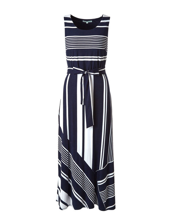 Navy Striped Maxi Dress, Navy/White, hi-res
