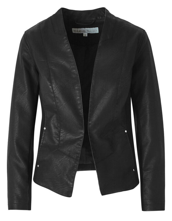 Black Open Front Faux Leather Jacket, Black, hi-res