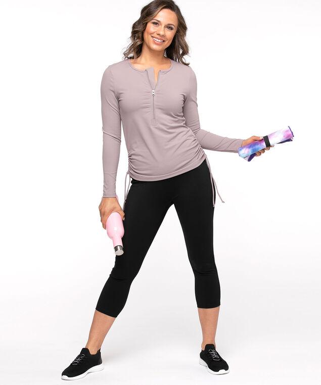 Half-Zip Ruched Side Active Top, Dusty Purple