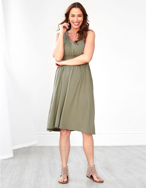 Olive Fit & Flare Dress, Dark Green, hi-res