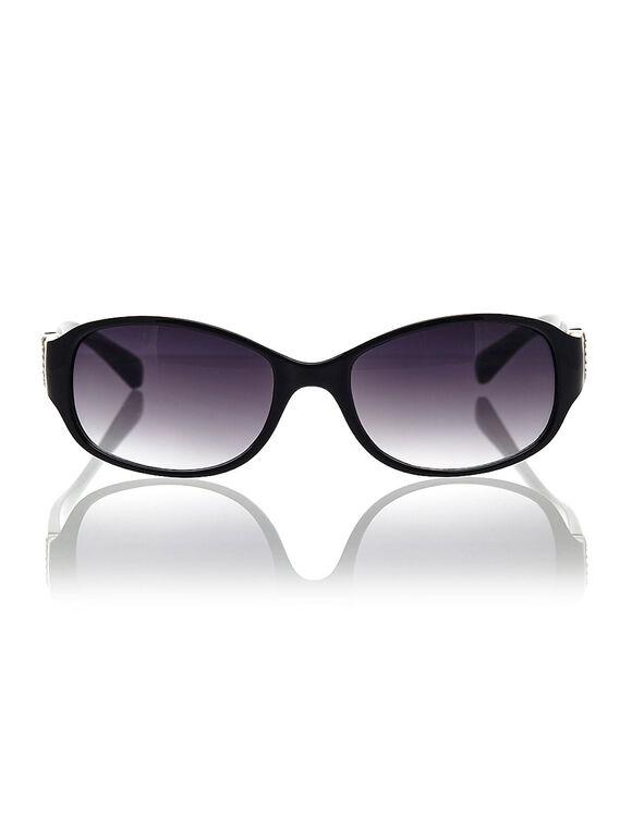 Black Bling Detail Sunglasses, Black, hi-res