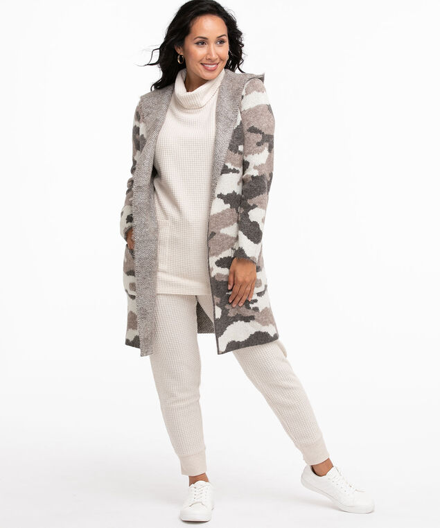 Camo Hooded Longline Cardigan, Neutral Camouflage
