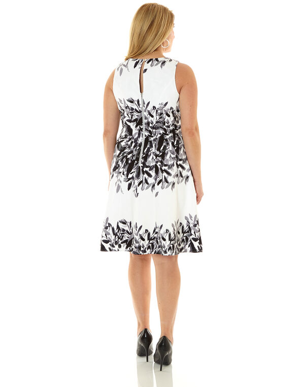 Black & White Floral Cotton Dress, Black/White, hi-res