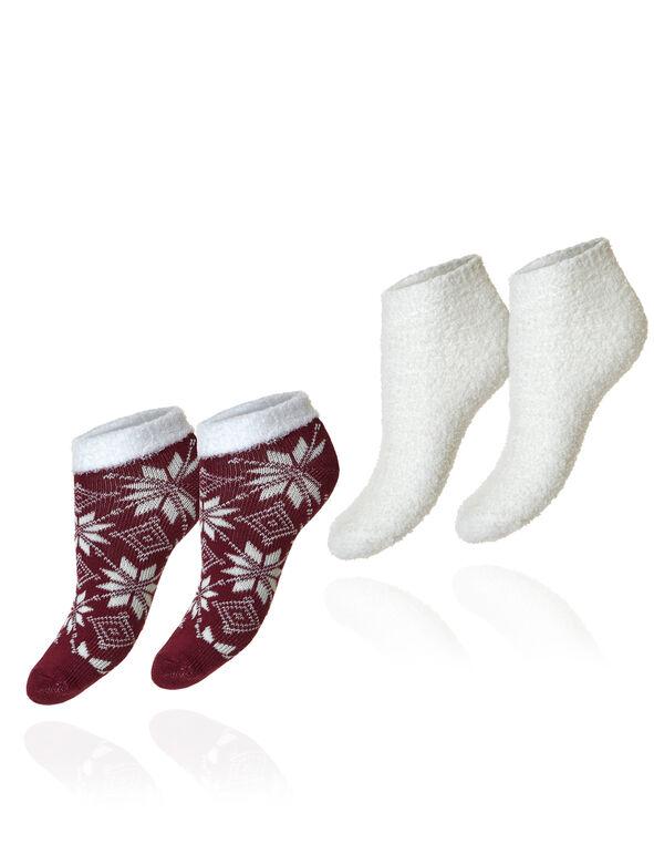 Wine & Ivory 2 Pack Cozy Socks, Wine/Ivory, hi-res