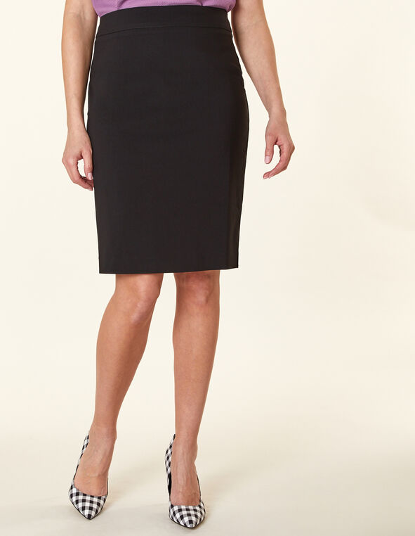 Black Pencil Skirt, Black, hi-res