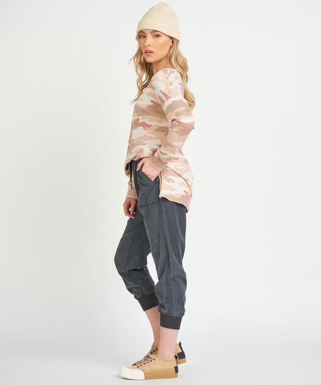 Dex Long Sleeve Side Slit Top, Peach Camo