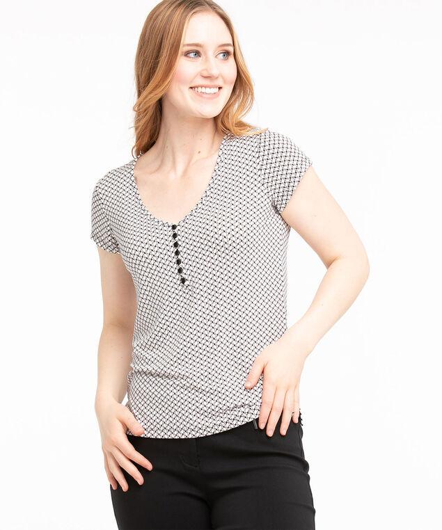 Patterned Short Sleeve Henley Top, Ivory/Black/Soft Pink Geometric
