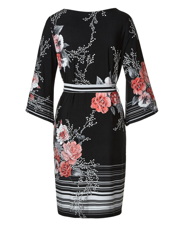 Black Floral Belted Dress, Black, hi-res