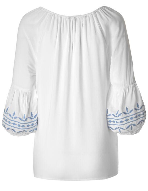 White Bubble Sleeve Peasant Blouse, White, hi-res
