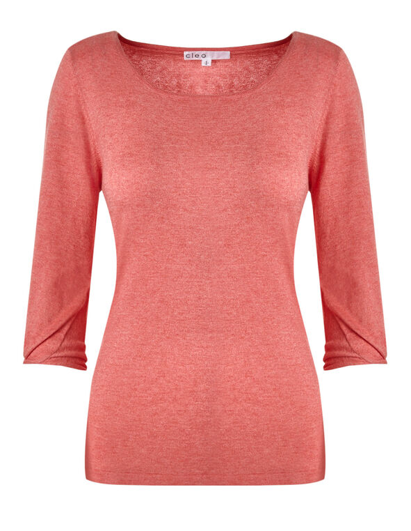 Soft Coral Knot Detail Pullover, Soft Coral, hi-res