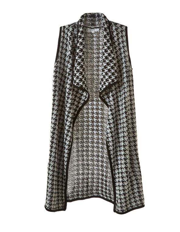 Black Houndstooth Knit Vest Cardigan, Black/White, hi-res