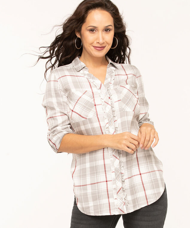 Plaid Ruffled Front Tunic Blouse, Ivory/Light Grey/Wine