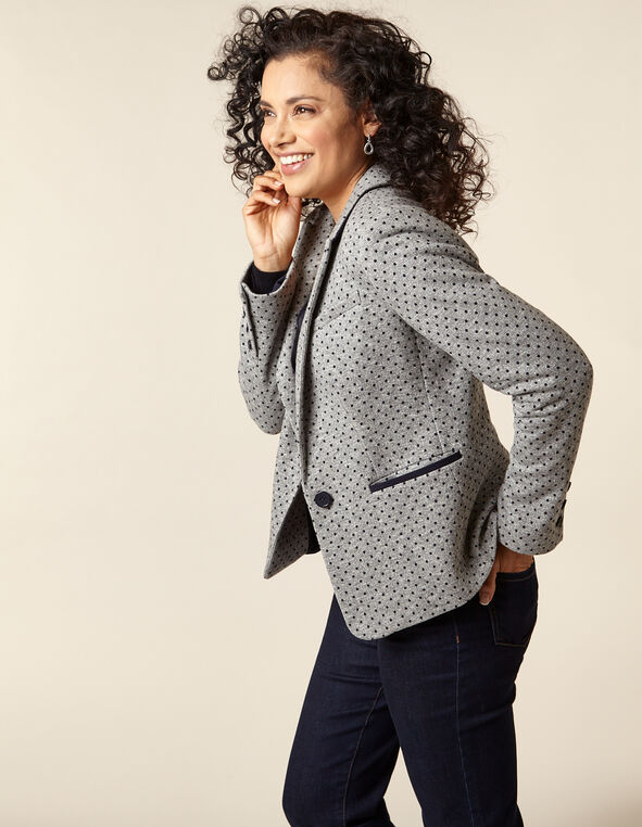 Navy Dot Grey Blazer, Grey/Navy, hi-res