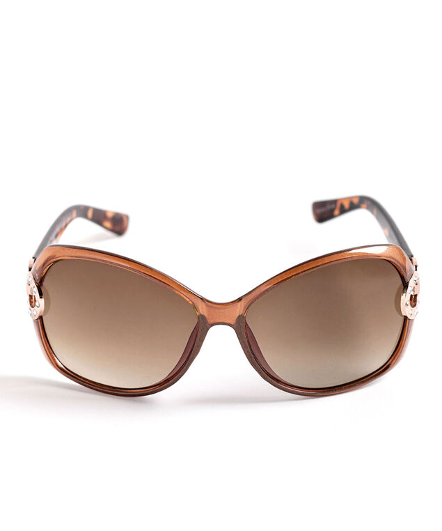 Rose Gold & Crystal Trim Sunglasses, Brown/Rose Gold